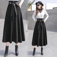 comfortable solid woolen skirts with zipper pockets high waist faldas largas black skirt goth clothes