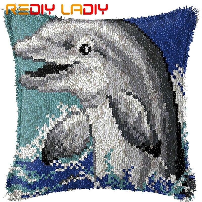 Trava gancho coxim sining golfinhos impresso lona almofada frente fio acrílico crochê fronha kits hobby & artesanato decoração de casa
