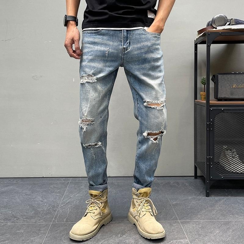 Рваные джинсы, свободные облегающие мужские брюки, новинка 2021, уличные мужские модные повседневные узкие джинсовые брюки, мужские прямые бр...