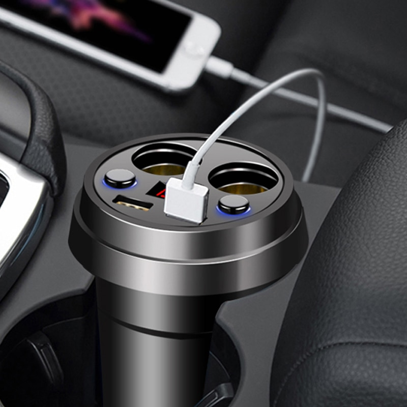 Автомобильное зарядное устройство 2 USB DC/5V 3.1A, адаптер питания с напряжением, светодиодный Разветвитель Прикуривателя, мобильный телефон, зарядное устройство s