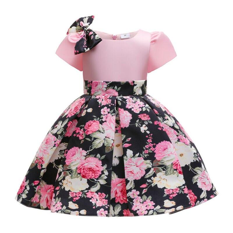 فستان حفلات للأطفال الصيف فتاة جميلة القوس الديكور الوردي كم قصير روز طباعة مربوط الخصر مطوي تصميم