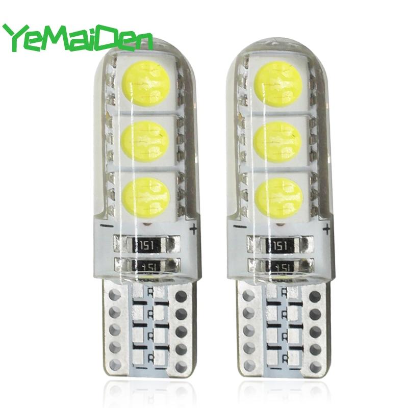 Ampoule en Silicone W5W 7000 ampoule 5W5 12V 194 K 6 SMD T10, lumière de lecture de dôme intérieure de voiture, cale latérale de voiture, lampe dimmatriculation blanche