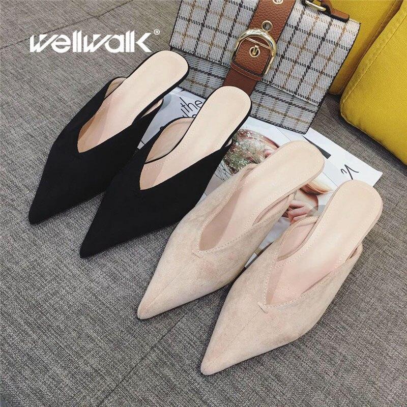 Wellwalk chinelos mulheres dedo do pé apontado slides mules de salto pequeno chinelos das senhoras sapatos de vestido moda alta mules feminino