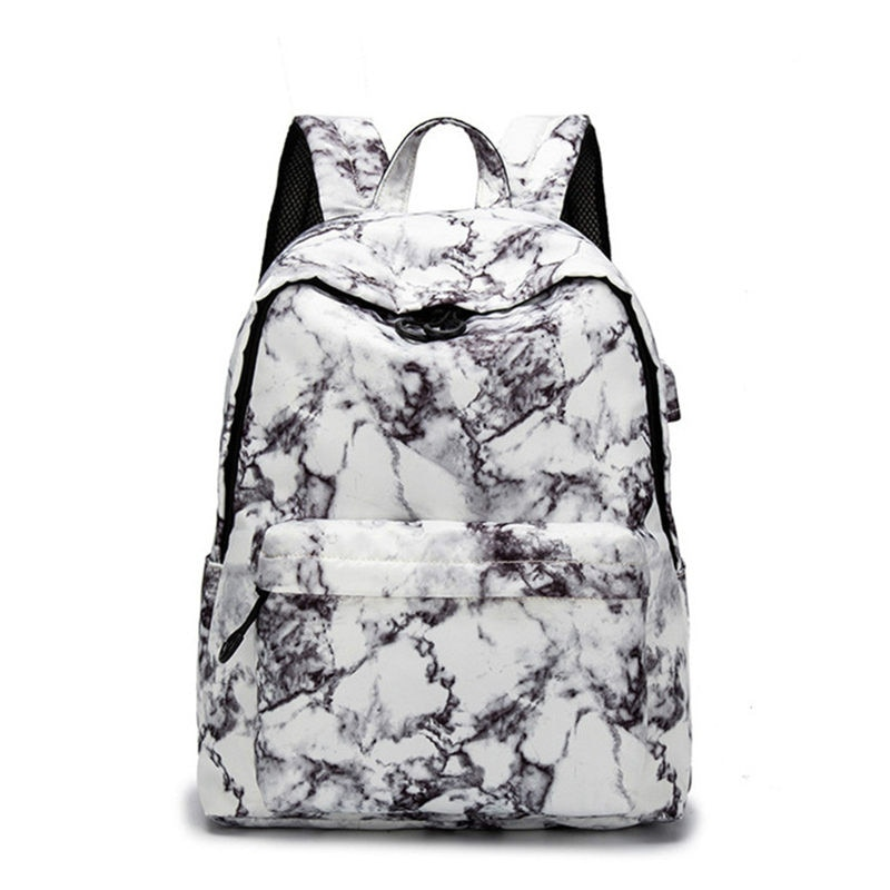 13.3 14 15.6 Inch Travel Marble Large Backpack Women USB School Backpack for Teenagers Bags Computer Package Marble Pattern Hot