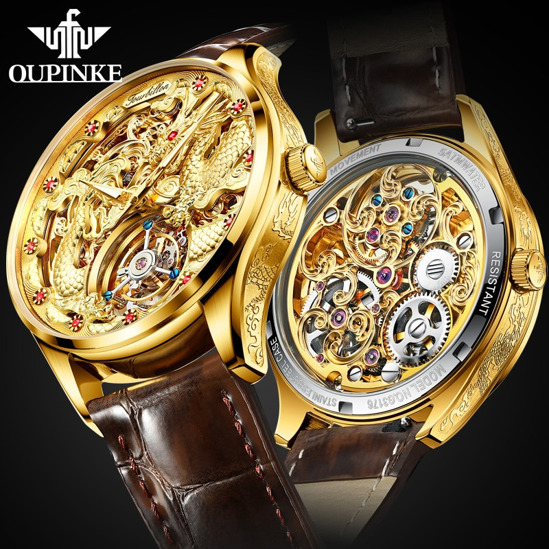 OUPINKE Tourbillon Watches Brand Mens Mechanical Watches Skeleton Leather Men Watches Luxury Business Clock Sapphire Waterproof