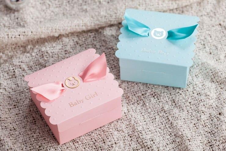 استحمام الطفل لصالح صندوق حفلة عيد ميلاد صندوق الحلو-الوردي فتاة أو الصبي الأزرق مع القوس الشوكولاته حقيبة 50 قطعة/الوحدة الحلو Favors