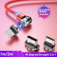 Магнитный кабель Lovebay с поворотом на 540 градусов, кабель Micro USB Type-C, СВЕТОДИОДНЫЙ Магнитный зарядный шнур для мобильного телефона, шнур для бы...