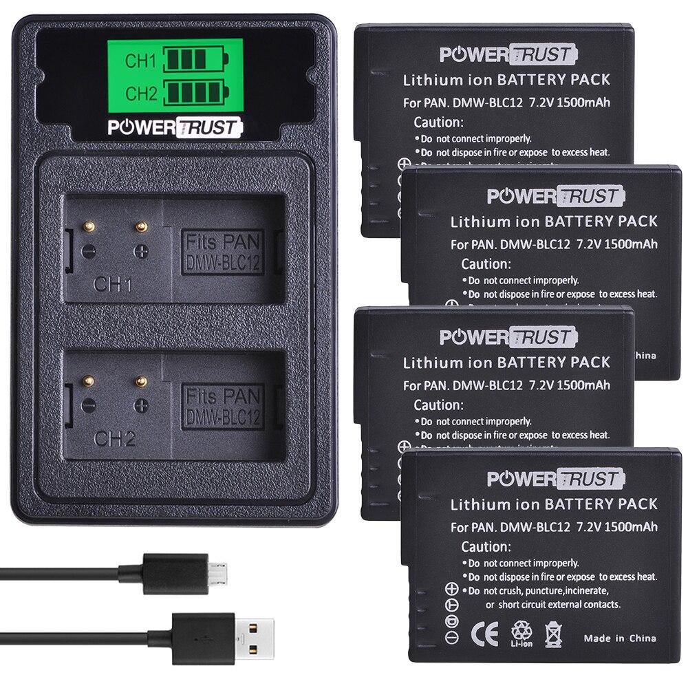 PowerTrust DMW-BLC12 batería de DMW-BLC12E + cargador Dual USB LCD para Panasonic...