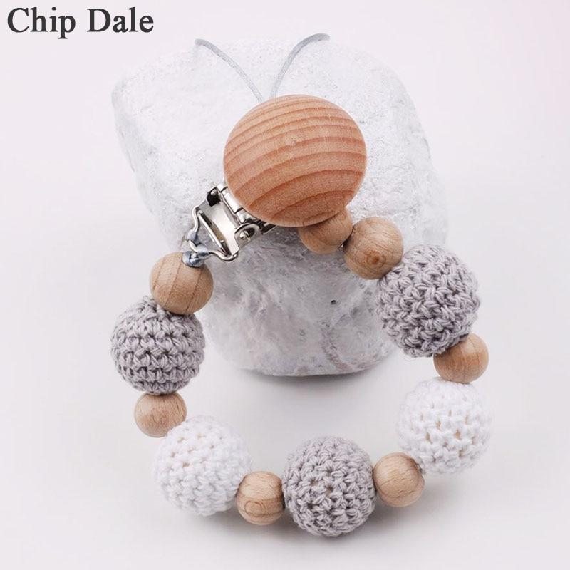 Chip Dale koraliki szydełkowe uchwyt na smoczek klipsy dziecięcy smoczek na łańcuszku gryzak łańcuszek na sutki wykonany ręcznie