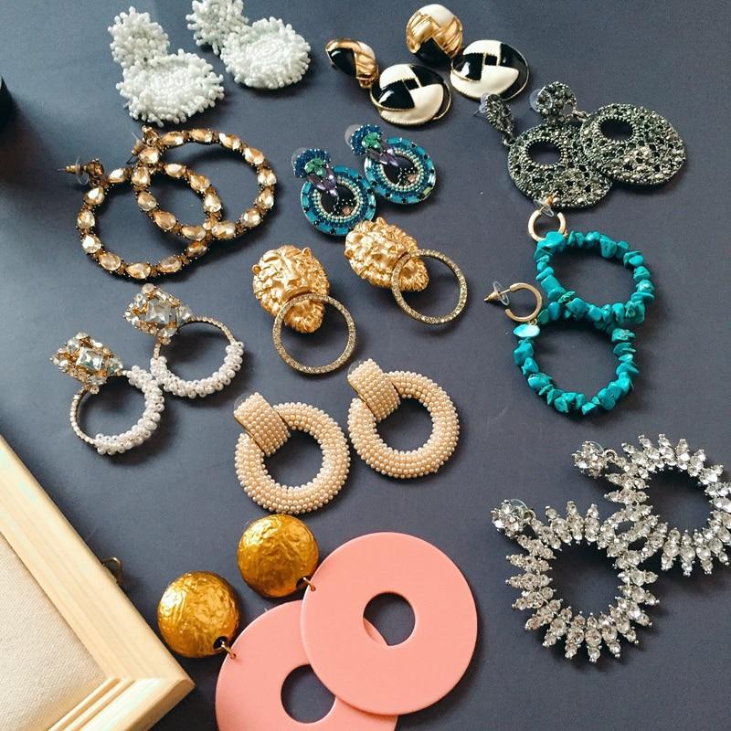 Ztech Luxury crystal drop earrings for women big Circle Pendant statement earrings large Resin earings bold Fashion Jewellery