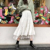 long tulle midi skirts womens 2021 autumn elastic high waist mesh tutu pleated skirts female black white long skirt streetwear