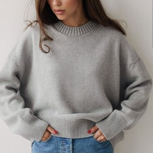 2021 Autumn Women's New Sweater Casual Fashion Commuter Style Loose And Comfortable Thick Warm Long-