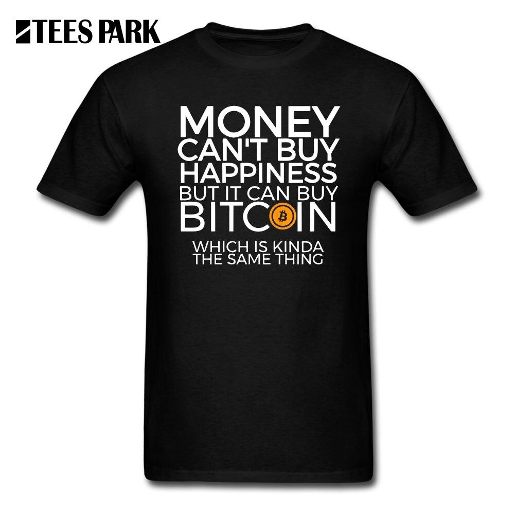 Camisas Engraçadas de T dos homens de Dinheiro não Pode Comprar Felicidade Mas Pode Comprar Bitcoin CryptoCurrency Camisetas T Camisas adulto Curto Camisetas