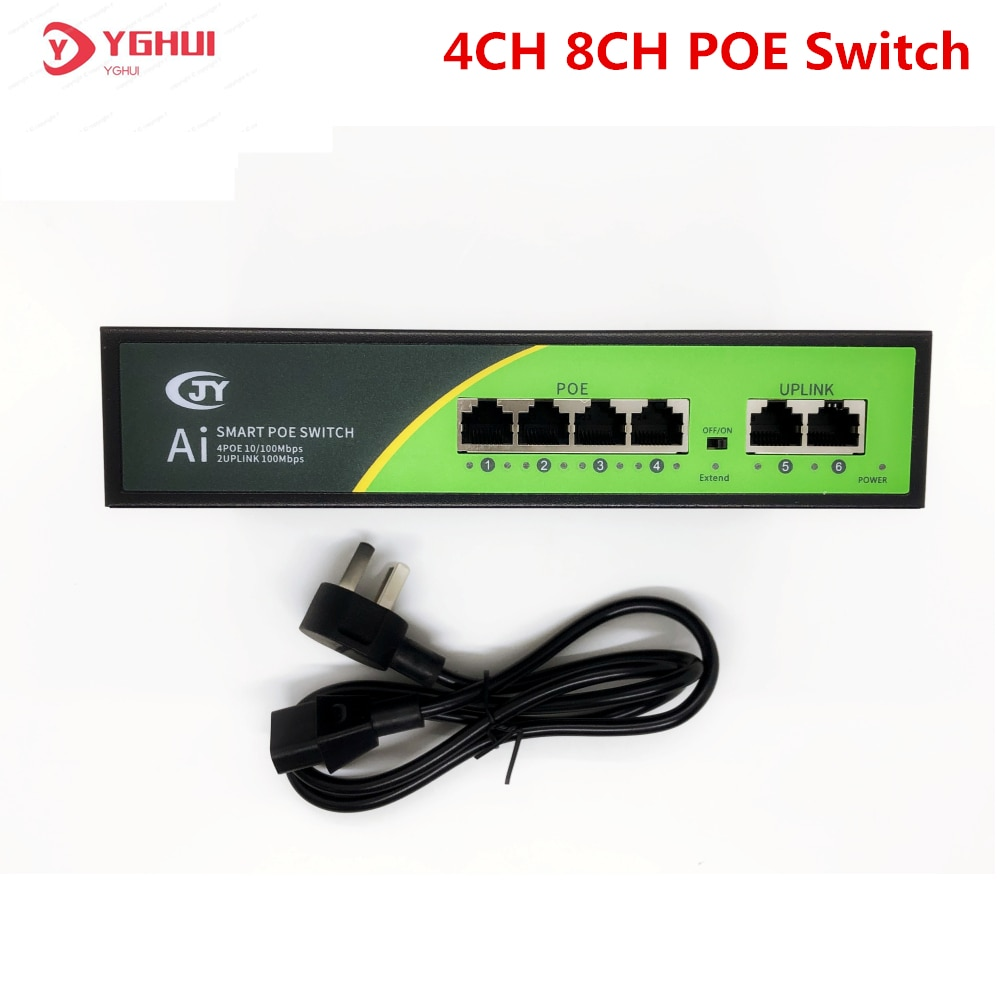 4 Port Ethernet Switch 48V Network Switch 100Mbps IEEE 802.3 af/at Standard RJ45 Connector For IP POE Camera poe camera simplified wiring connector splitter 2 in 1 network cabling connector three way rj45 head security camera install