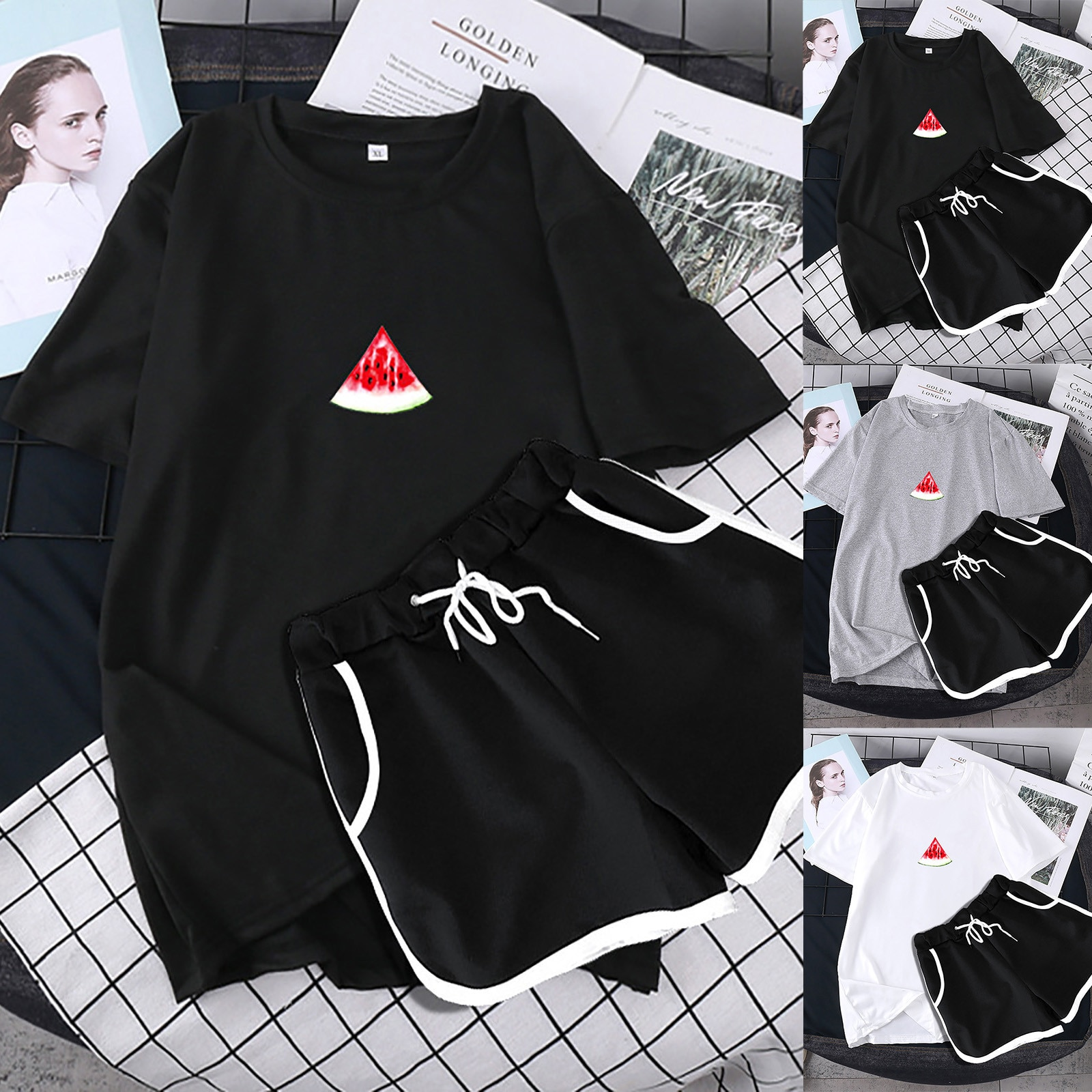 ISHOWTIENDA Women Two Piece Drop Sleeves Set Short Sleeve O-neck Paneled T Shirt Shorts Conjuntos De Mujer Outfits For Women