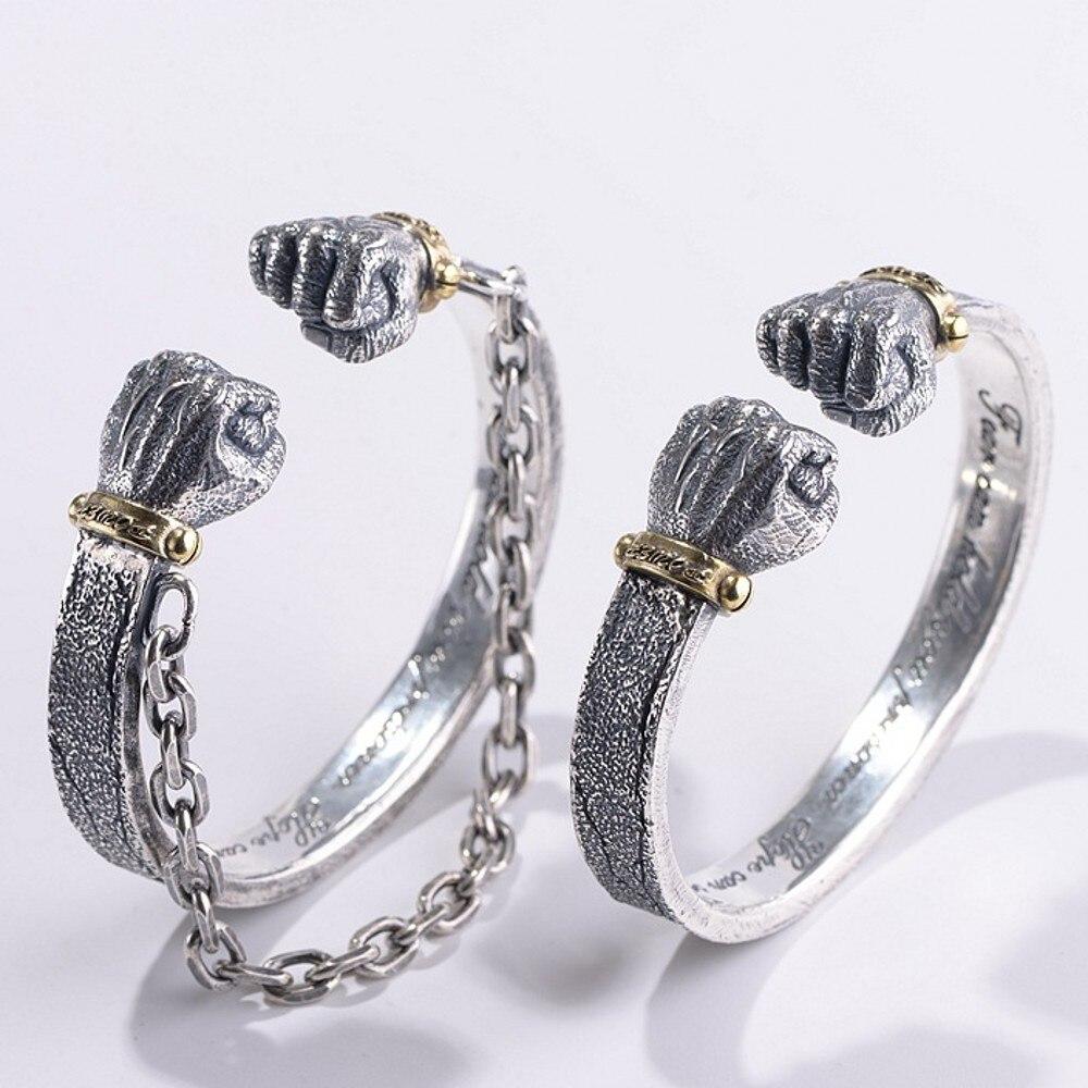 BOCAI 100% real S990 pure silver fashion men bracelet vintage craftsmanship Thai silver double fist shap simple bracelet for man