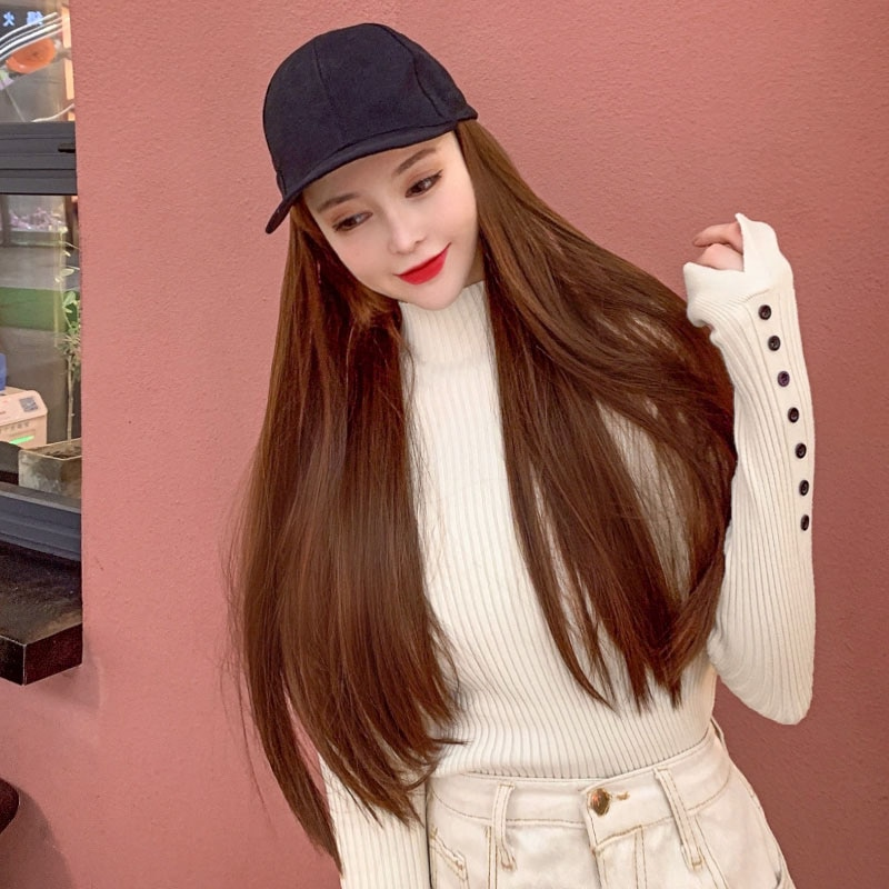 LVHAN Wig Hat One Cap Long Straight Hair Natural Black Brown Black Deep Brown Light Brown High Temperature Fiber