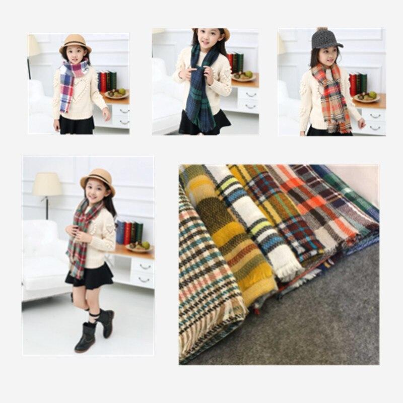 Brand Blanket Scarf Winter Girls Plaid Cashmere Kids Shawl Scarves Ponchos and Capes Wool Boys Children Designer Long Scarf
