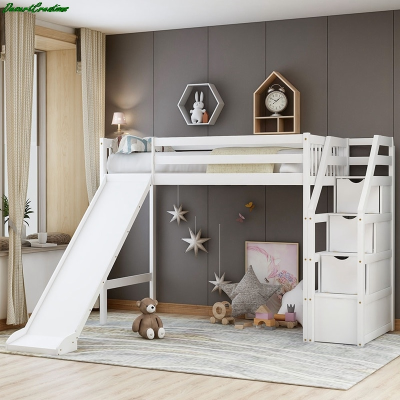 Twin Size Loft Bed With Storage And Slide Wood Low Sturdy Loft Bed for Kids Bedroom