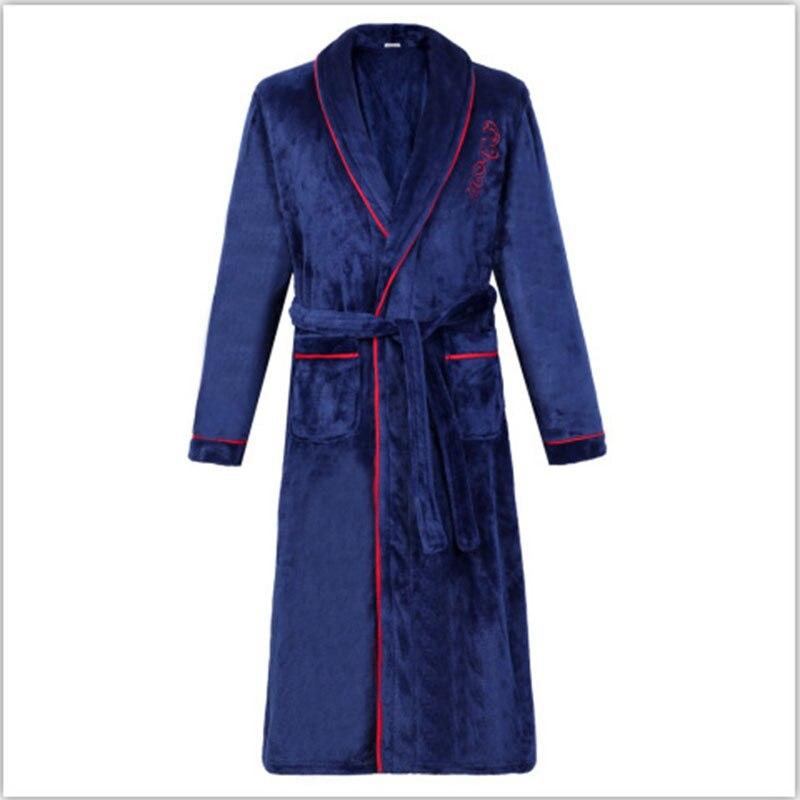 Flannel Bath Gown Winter Bathrobe Men 3XL Thick Men's Robe Terry Long Sleeve Solid Male Sleep Gown Women Nightgown Kimono Lounge