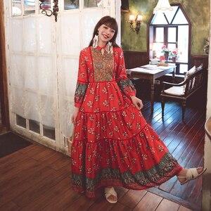 Woman Maxi Dresses Summer 2021 Fashion Fiber Puff Sleeve Loose Robe Femme Elegant Ethnic Multi Floral Embroidery Arabian Clothes