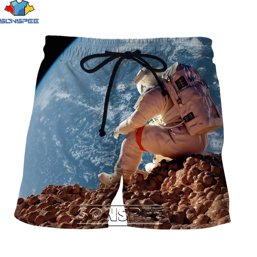 SONSPEE New Fashion Astronaut Series 3D Printing Men's Shorts Summer Creative Street Personality Casual Hip Hop Simple Style
