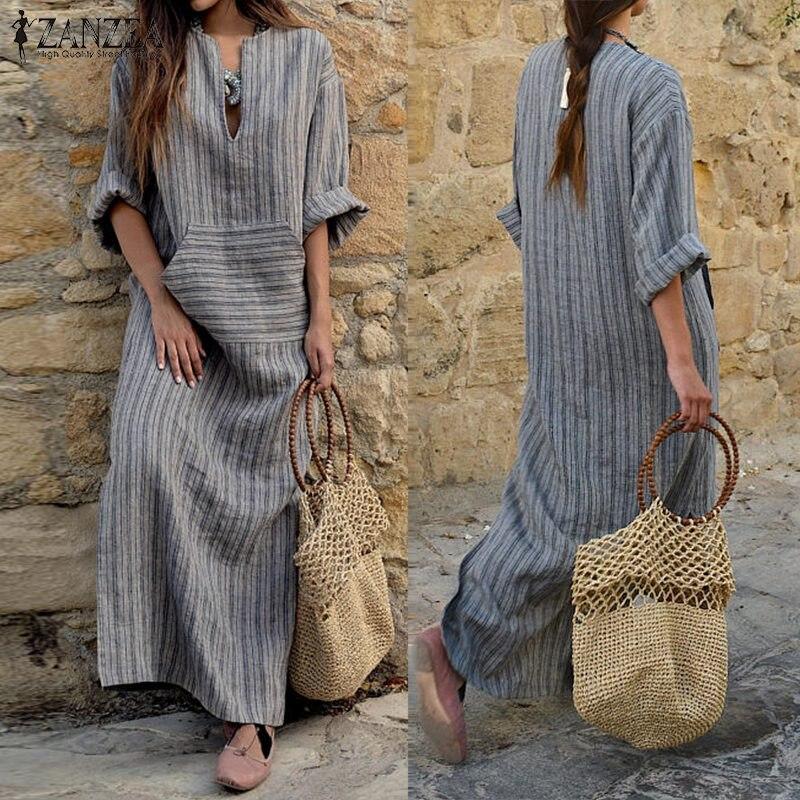2019 Autumn ZANZEA Women Summer Striped Dress Sexy V Neck Long Sleeve Maxi Long Dresses Vintage Casual Loose Plus Size Vestidos