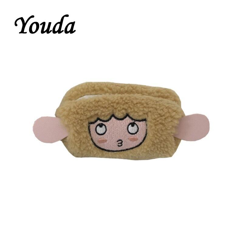 Youda, diseño Original de invierno, nueva bolsa de monedas para mujer, bordada de cordero, lindas bolsas de dinero para mujer, bolsillo pequeño portátil para chica dulce