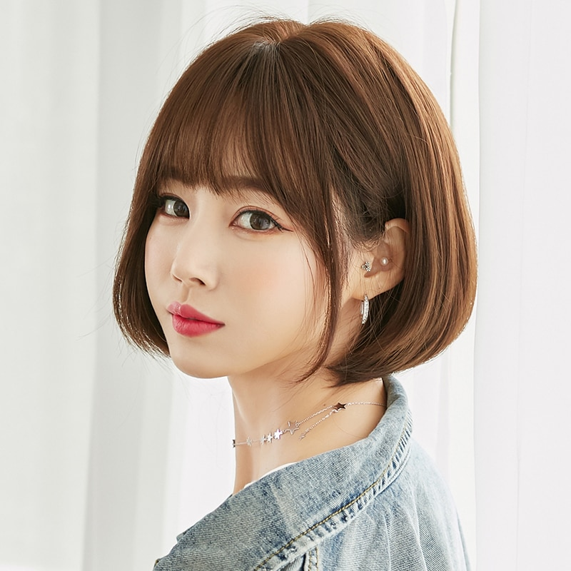 Bobo Latest Style Fashion Short Black Brown Synthetic Wig With Bang For Women Non-Reflective Shopping Party Daily Wear Wig