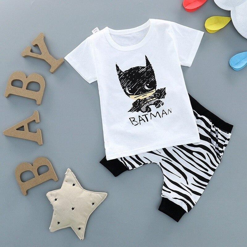 Neue Kinder Baumwolle Sets Jungen Mädchen Kurzen ärmeln Zwei-stück Sommer Set Kinder Kleidung Infant Cartoon Batman T-shirt frühling Herbst