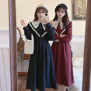 Japanese Style Doll Collar Waist Slimming Corduroy Long-Sleeved Dress Women's Autumn Winter kawaii clothing sweet Lolita dress