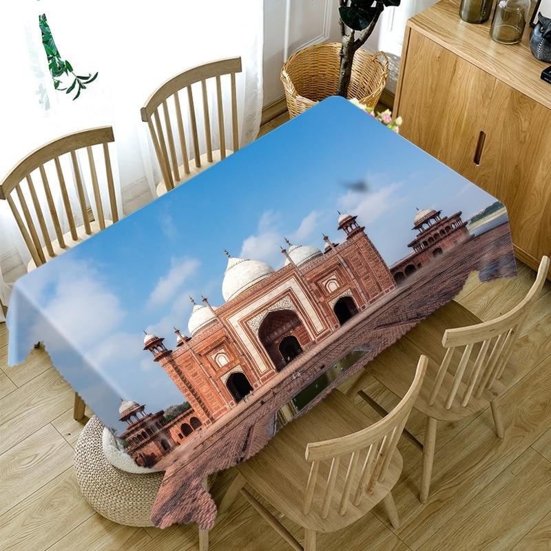 Mantel con impresión India Agra, azulejo rojo, estampado de pared, mantel de mesa Rectangular, mantel grueso impermeable, cubierta de mesa redonda de cena