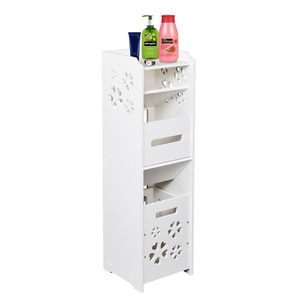 【US Warehouse】3-tier Bathroom Storage Cabinet with Garbage Can 25*25*80CM White   Drop Shipping USA