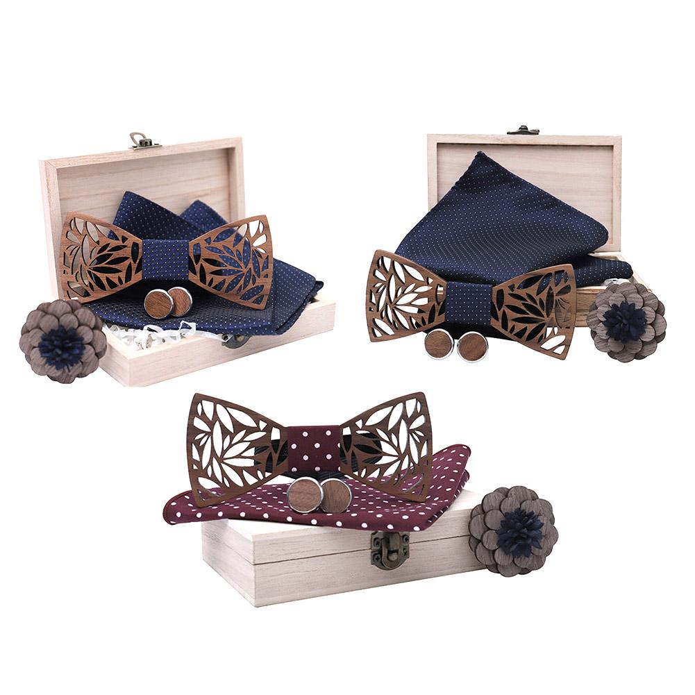 Wooden Bow Tie Handkerchief Set Men's Plaid Bowtie Wood Hollow Carved Cut Out Floral Design With Box Fashion Bow Ties Men