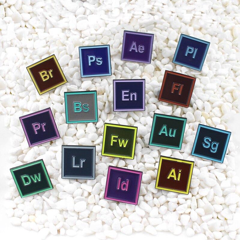 15 estilos de software de ordenador icons esmalte pin software instrucciones de desarrollo mochila denim insignias de tela joyería regalo de broche