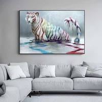 abstract white tiger with colourful stripes nodic home decor oil painting on canvas posters and prints wall art animal picture