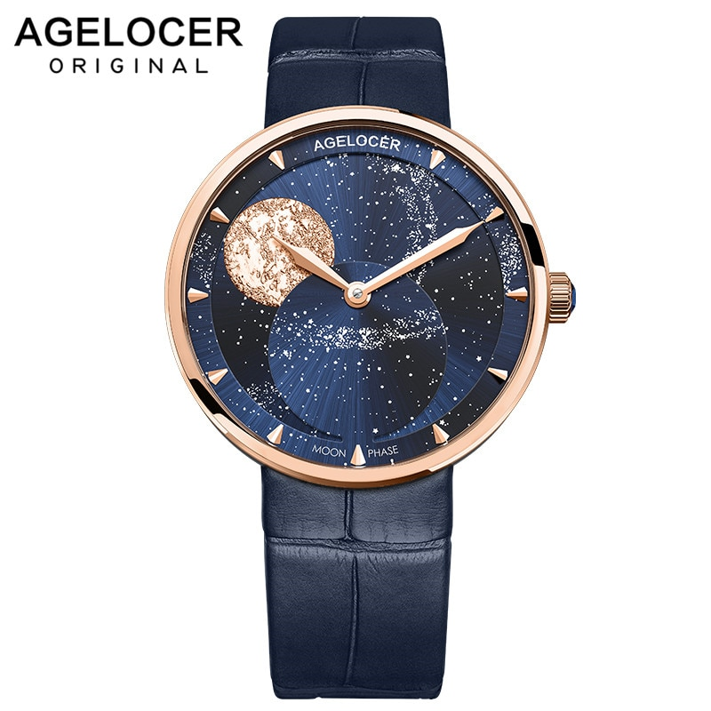 AGELOCER New Watch Women Watches Ladies Moonphase Rose Gold Women's Bracelet Watches Female Waterproof Clock Relogio Feminino