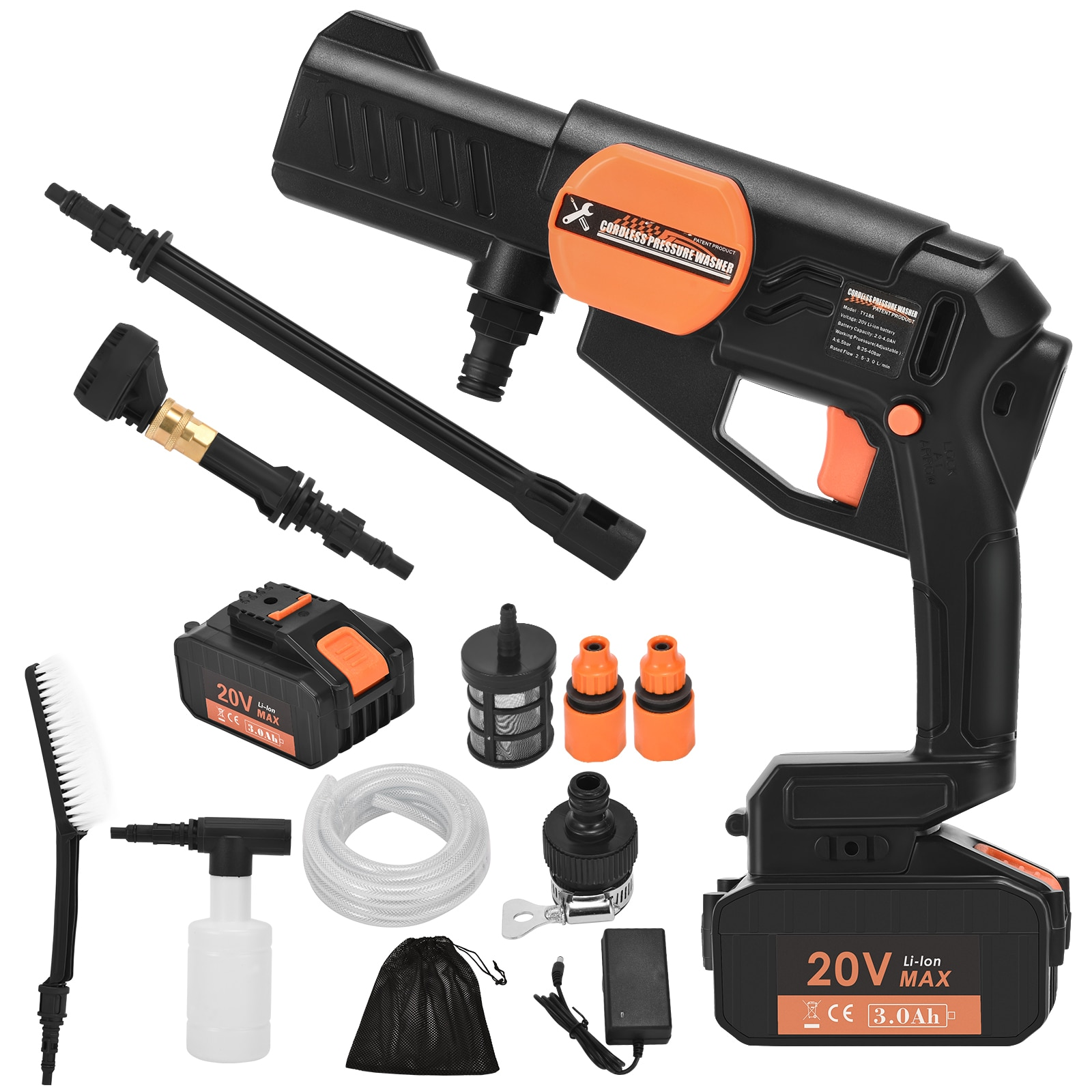 Cordless Electric Pressure Washer Gun Portable Surface Cleaner For Smaller Jobs Clean Washer Hose Car Wash 5-In-1 Nozzle 3000mah enlarge