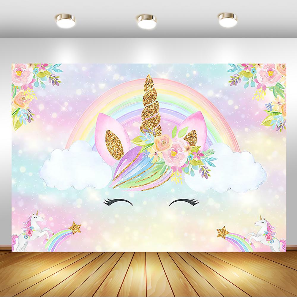 Rainbow Unicorn Backdrop Gold Unicorn Birthday Photo Backdrop Glitter Bubble Floral Background for Children Birthday Decorations