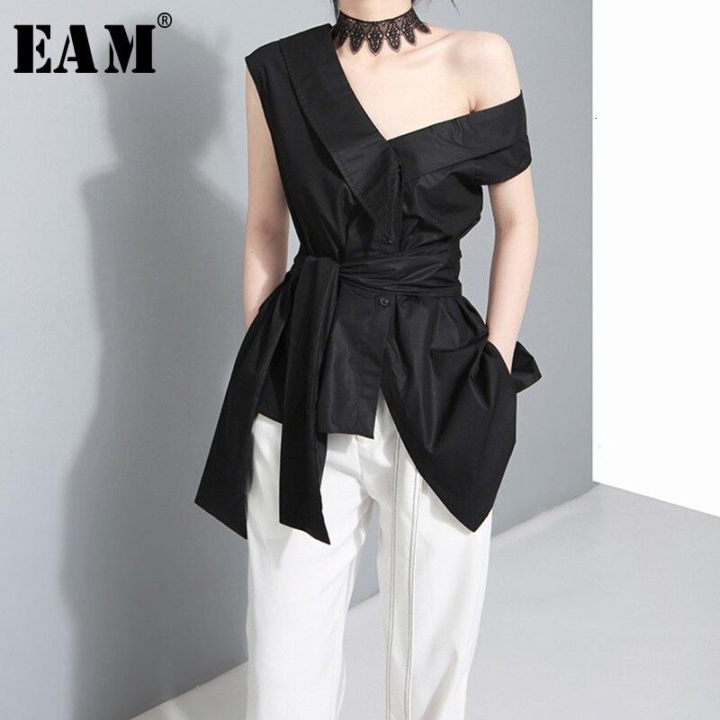 [EAM] blusa asimétrica de vendaje con lazo para mujer, camisa holgada de manga corta con cuello de madeja, moda de primavera otoño 2020 J4950