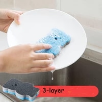 cute cartoon bear shape emery sponge brush wash pot scouring pad magic wiping dishwashing cleaner kitchen cleaning dishcloth