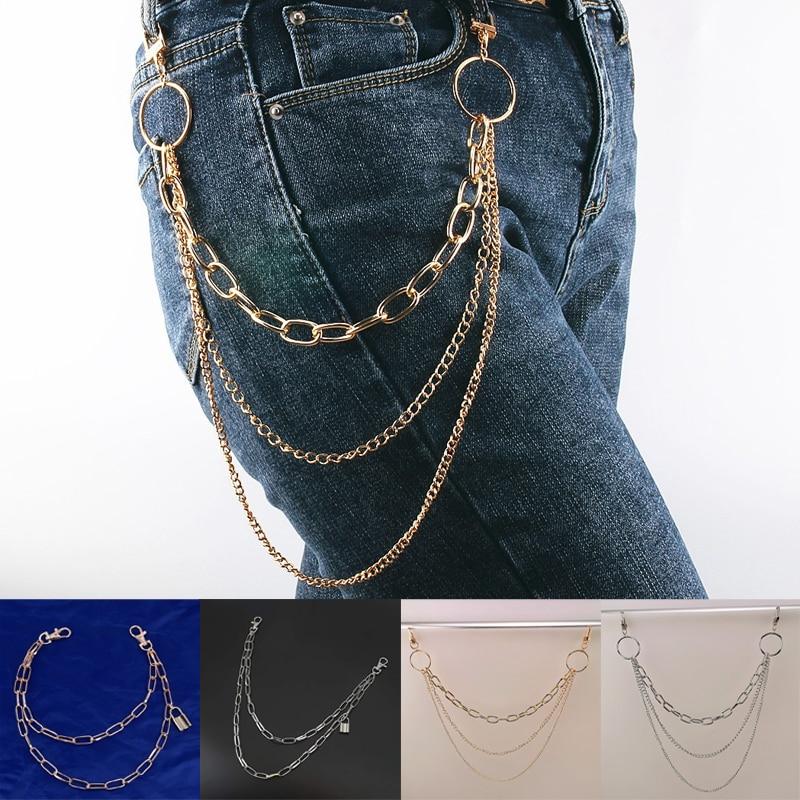 4 Colors Multilayer Padlock Waist Chain Punk Personal Unisex Key Pants Jeans Wallet Ring Strap Accessories