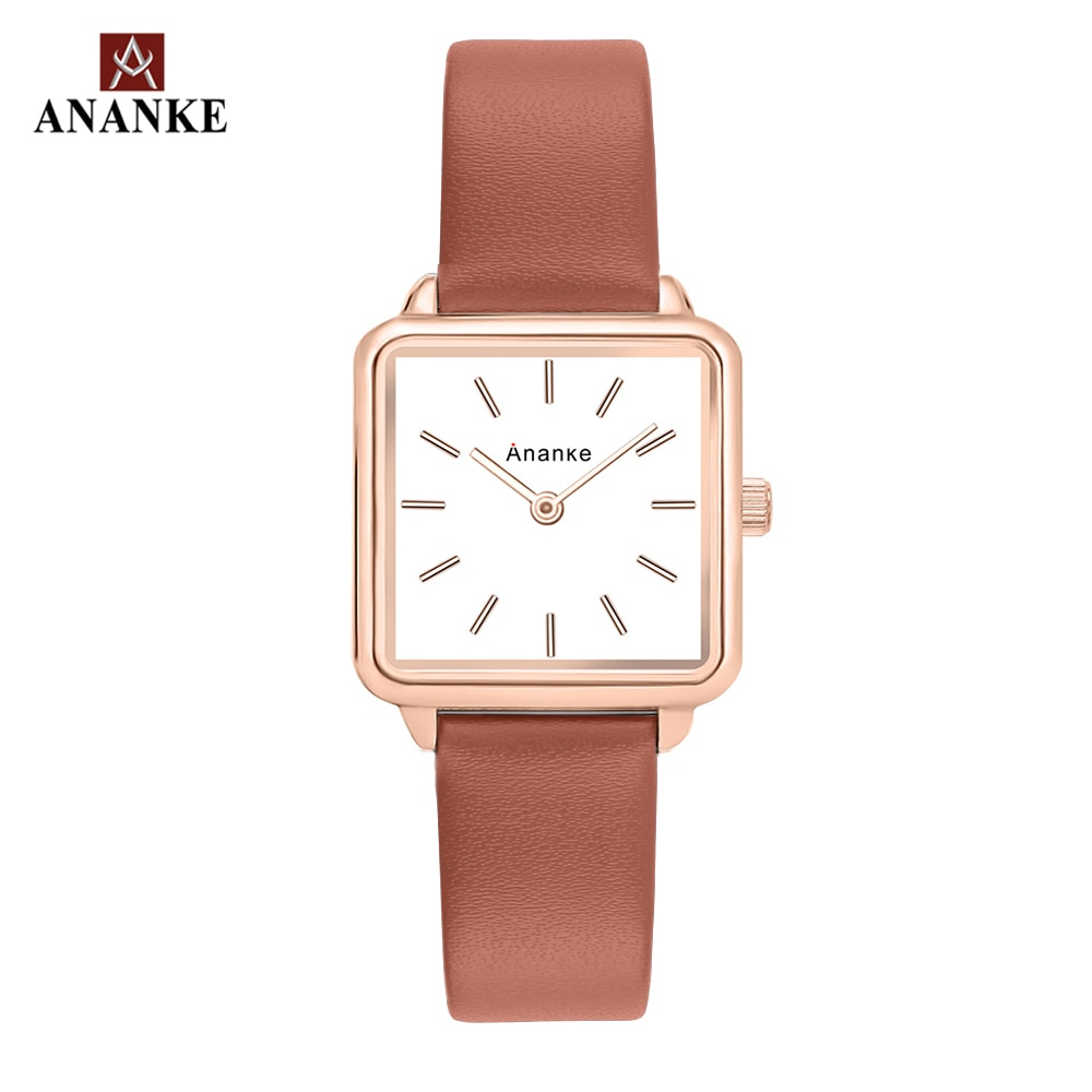 Ananke Women Fashion Square Wristwatches Lady Thin Simple Quartz Watches Genuine Leather Band Female Clock Montres Femme AN25 enlarge