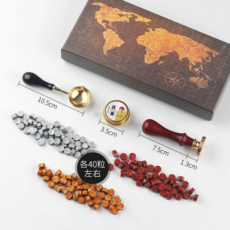 2022 DIY Custom Stamps Wax Seal Map Box Kit Detachable Spoon Set Sealing Beads Envelope Wedding Packaging Gifts Postcard