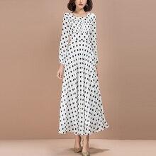 Longue robe blanche en mousseline de soie, nouvelle mode pour femmes, imprimé à pois, printemps 2021