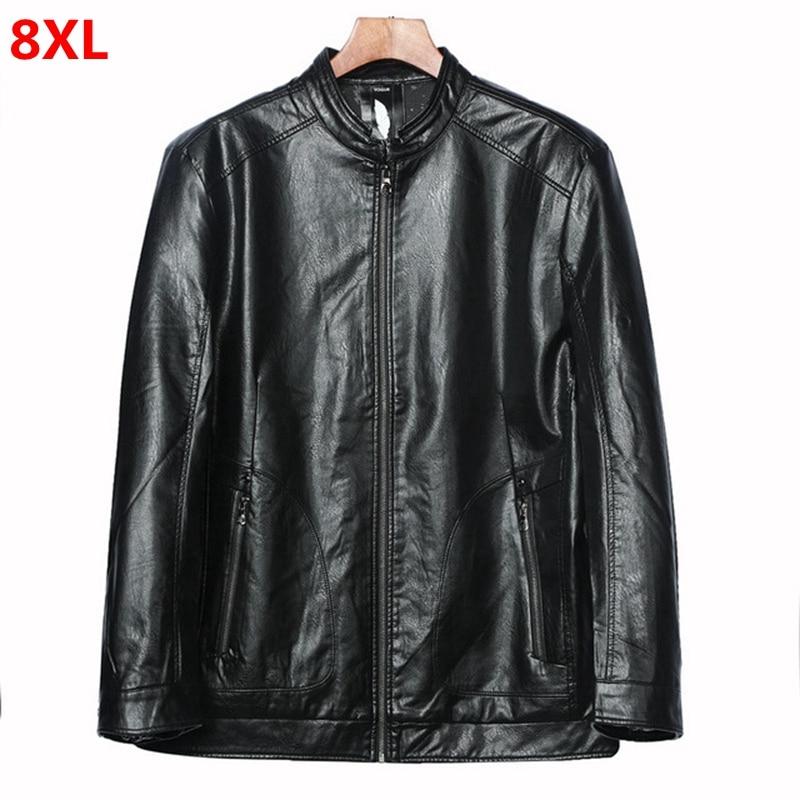 Plus size PU leather jacket male plus size baseball collar thick PU leather coat casual shirt tide biker jacket 8XL 7XL 6XL