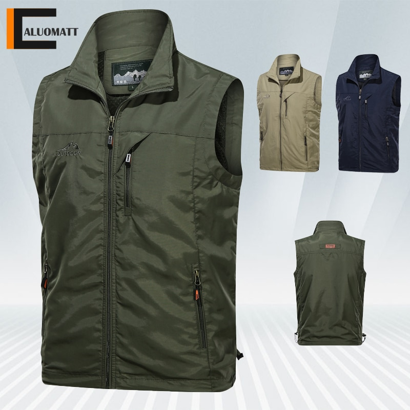 Men's Fishing Vest New Summer Quick Dry Outdoor Zip for Photography Sleeveless Jacket Sport Fishing