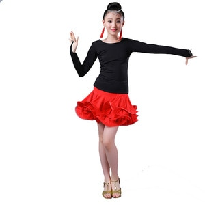 2PCS/SET Kids Dresses for Girls Latin Dance Dress Ballroom Competition Practice Solid Tango Stage Performance Costumes