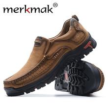 Merkmak hommes chaussures décontractées respirant en cuir véritable loisirs chaussures hommes sans lacet en plein air homme chaussures anti-dérapant chaussures plates mocassins