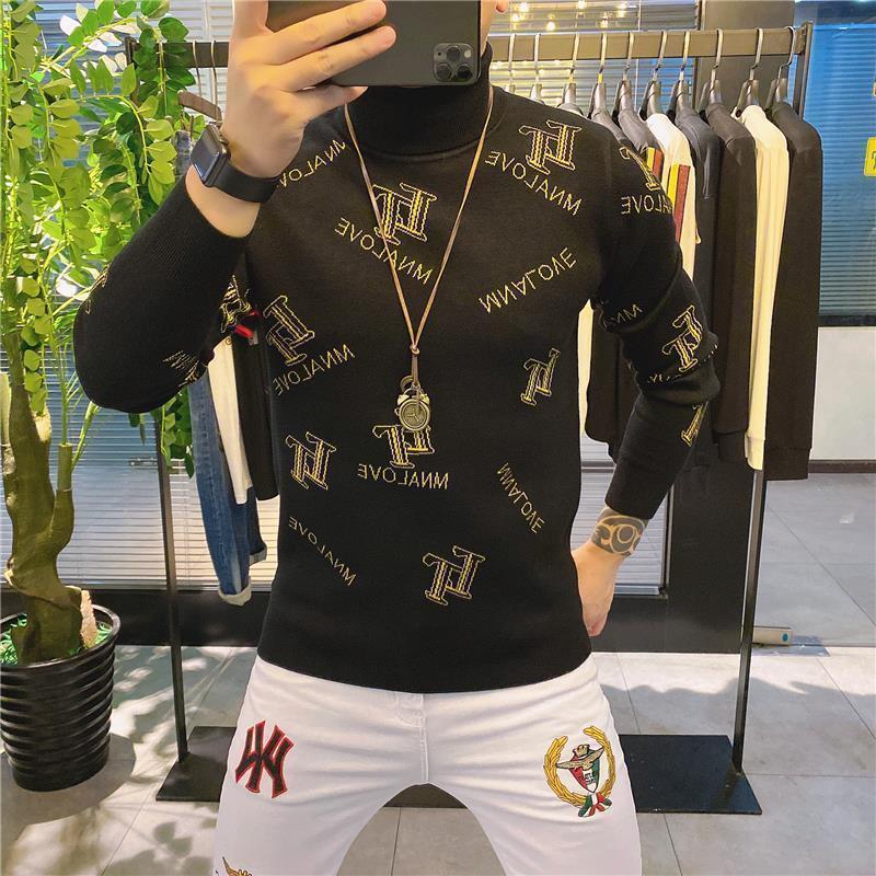 Europe Station 2020 Winter Top Men 's High Collar Plush Bottomed Shirt Korean  Personality Fashion Sweater